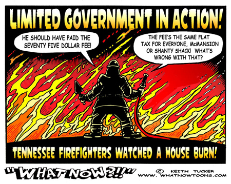 cartoon house on fire. Not just the house, but three